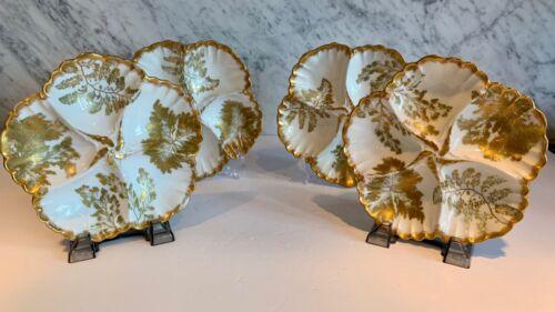 Set of 4 Antique Limoge French Tressemann & Vogt T & V Oyster Plates 19thC