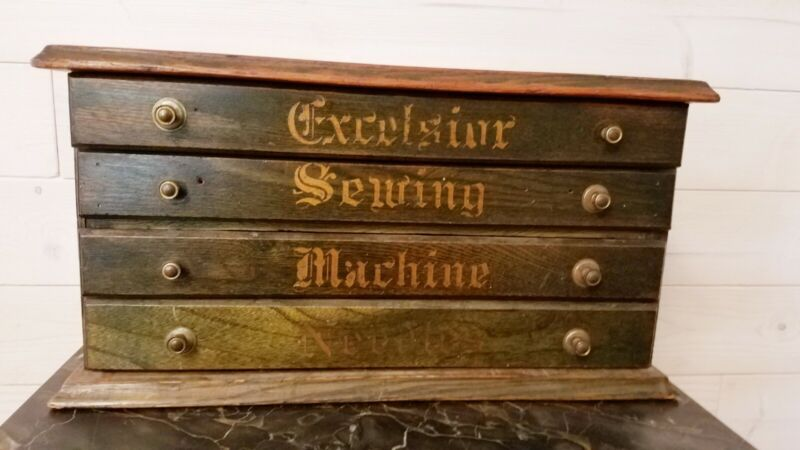 Excelsior Sewing machine Needle Cabinet.   Fabulous