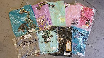 NEW 3 pcs ED HARDY CHRISTIAN AUDIGIER RHINESTONE T-SHIRTS TANK TOPS SMALL