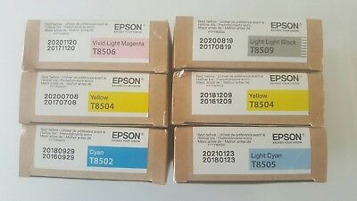 - 6x Genuine Epson Stylus Pro Ink Cart-Brand New boxes SC-P800. Late 2018 and 2020