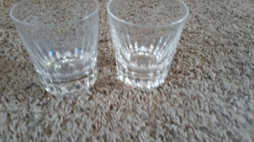 "TWO Baccarat Crystal Tumbler Glasses 4"" H"