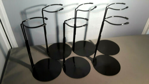 Doll Stands set of six Black Metal stands 8-14 inch Dolls and teddy bears