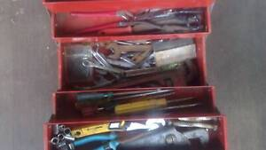 Metal Tool box wrenches, spanners, screw drivers, sockets 50 odd ends