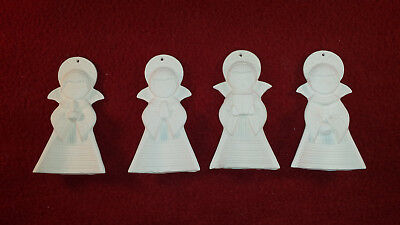 4 Angels Ceramic Bisque Christmas Tree Ornaments Ready To Paint 3 pc set