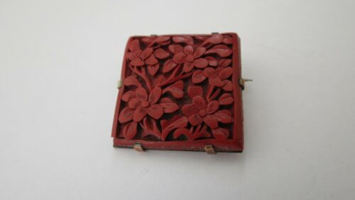 Antique Chinese Carved Flowers Cinnabar Square Brooch Pin