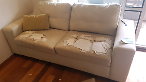 Free leather lounge with fold out Dee Why Manly Area Preview