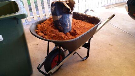 Wheel barrow  and plastering sand Tea Tree Gully Tea Tree Gully Area Preview