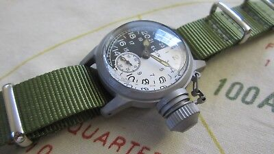 Ww2 Elgin Military 24 Hour Day Night Watch With 300 Ft Water Proof Canteen Case
