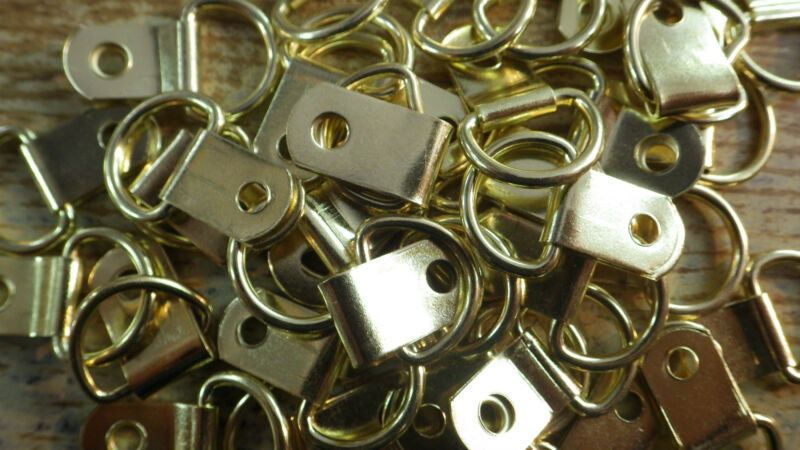 20 SMALL BRASS PLATED PICTURE FRAME D RINGS HANGING BRACKETS HOOK MIRROR