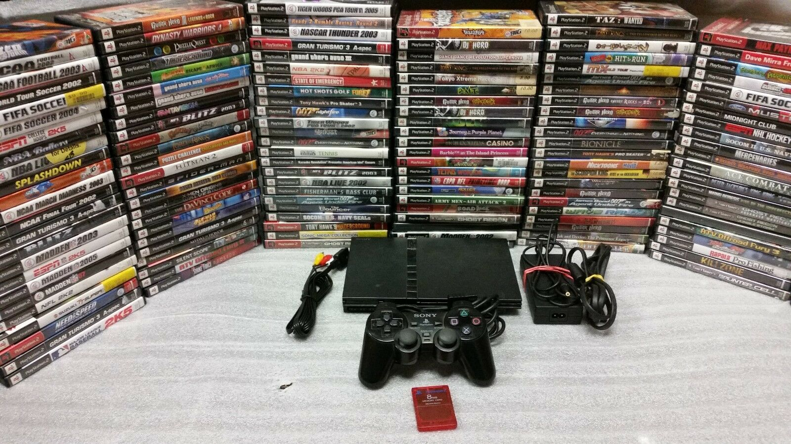Sony PlayStation 2 PS2 Slim Edition Black Console System with games