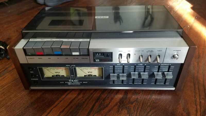 TEAC A-450 Stereo Cassette Deck with Dust Cover - NEW BELTS WORKS FINE