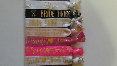Bride Tribe / Team Bride Hair Elastics Bracelets Wrist Bands Hen Party Favours](Team Bride Wristbands)
