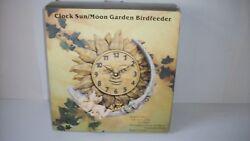 Clock Sun/ Moon Garden Bird Feeder Wall Hanging 10 1/2 Diameter NEW