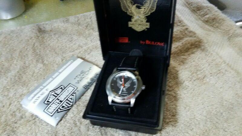Harley Davidson bulova watch 76A12 RARE EAGLE  gift collectible running! nice!