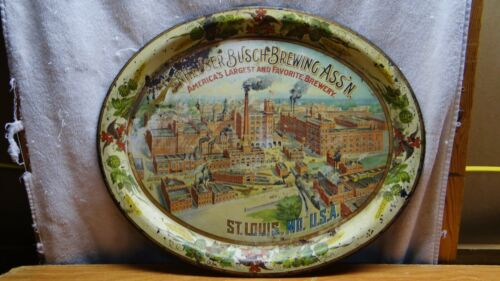Large 1900s Anheuser Busch St Louis Mo Beer Tray Factory Scene Pre Prohibition