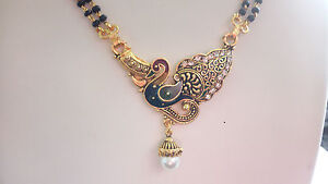 Mangalsutra Set With Enamel Work Pearl Featuring Double Chain available at Ebay for Rs.205