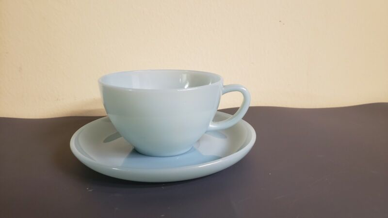 FIRE KING ANCHOR HOCKING TURQUOISE DELPHITE BLUE TEA CUP AND SAUCER SET