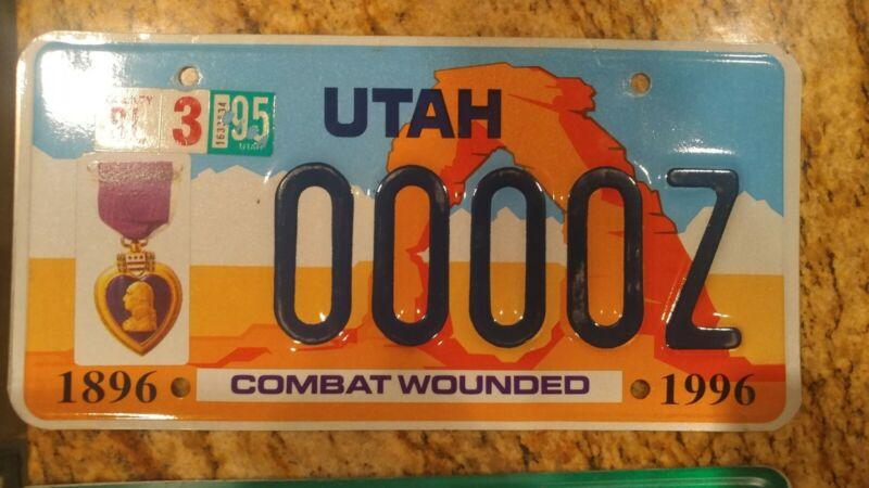 Utah License Plate Purple Heart sample #0000Z