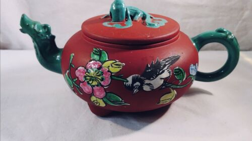 Chinese Yixing Clay Pottery Teapot with Painted Bird Flower Design Dragon Lid