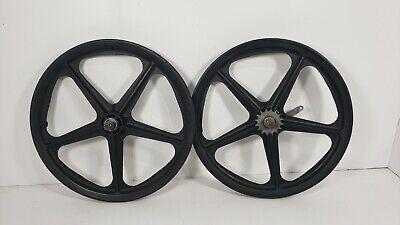 "Skyway Tuff Wheel 3-spoke Mag BMX Wheels Black 12/"" Set Coaster Brake 12.5/"""