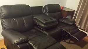 very nice black leather couch