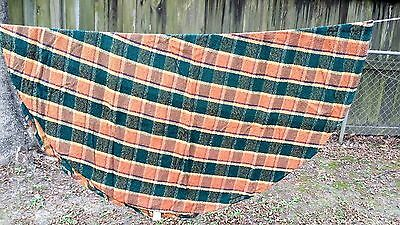 "BROWN GREEN PLAID ROUND 58"" TABLECLOTH  FREE SHIPPING"
