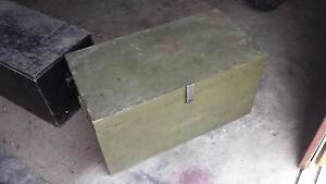 Army green wooden foot locker storage box Two Wells Mallala Area Preview