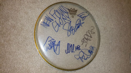 NEW FOUND GLORY BAND SIGNED CLEAR DRUMHEAD