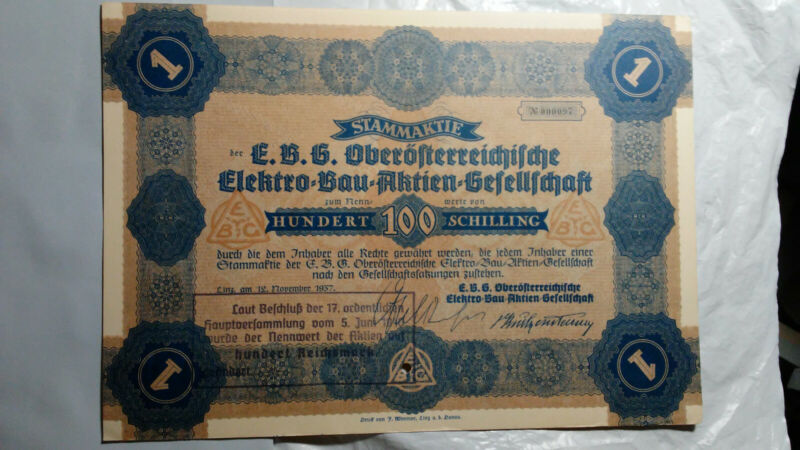 AUSTRIA 1937 ELEKTRO-BAU-AKTIEN-GESELLSCHAFT 100 SHILLING BOND CERT., COMMON