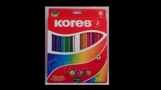 Kores 24 intensive Farbbuntstifte + gratis Spitzer, 24er Karton, 3-eckig
