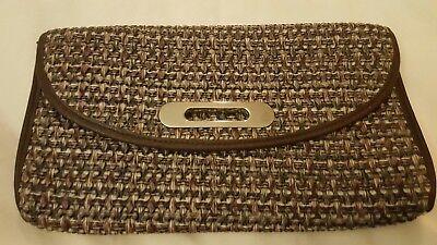 Gewebte Clutch-handtasche (Braun Gewebt Clutch Tasche Handtasche Kunstleder Trimm ~ Niedrig Weltweiter)