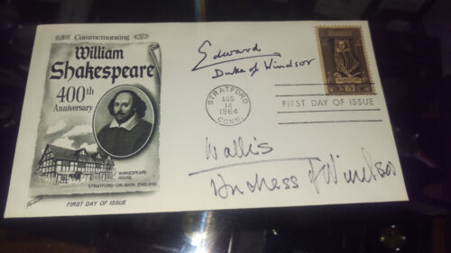 FIRST DAY COVER w/ TWO SIGNATURES of DUKE & DUCHESS of WINDSOR...EDWARD the 8th