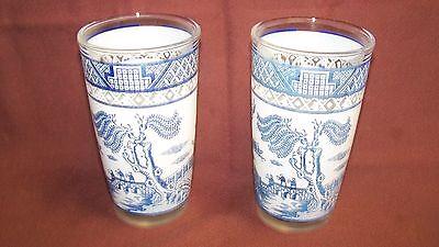 2 HAZEL ATLAS BLUE WILLOW GLASS TUMBLERS