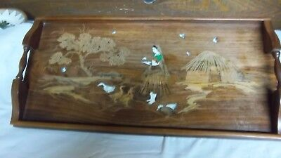 ANTIQUE INLAID WOOD SERVING TRAY