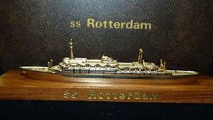Historical Holland America SS Rotterdam Vintage Cruise Ship Model Gold