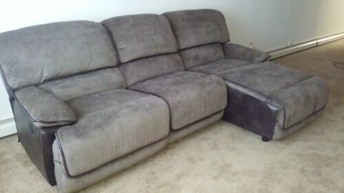 Large Sofa w/ 3 connecting seating areas with Chase & chair end both Motorized