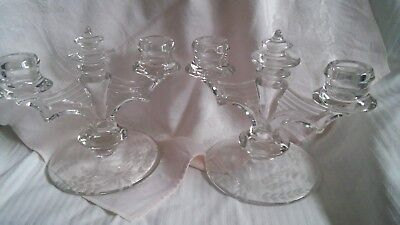 Vintage Glass Candelabras Set of 2 Each with 2 Candle Holders