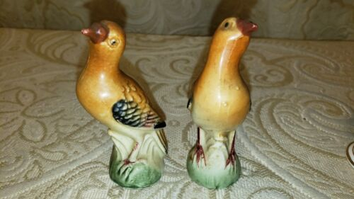 Vintage Made in Japan Ceramic Bird Set of 2 Figurine Hand Painted Birds