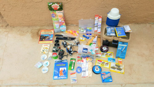 Fishing gear mixed lot, reels, lures, etc, etc, new and used.