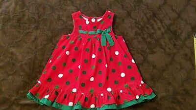 Rare Editions Girls Size 4 Red Corduroy Jumper Dress Green White Polka Dot