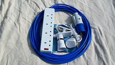 CAMPING ELECTRIC HOOK UP 10 MTR + 2 MTR CLIP ON LIGHT BLUE ARCTIC CABLE