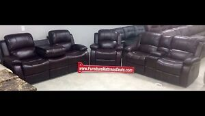 Brown 3Pce,reclining console love seat,drop table sofa,recliner