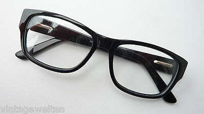 Classic black Acetate version with extra wide Accent bar Nerd 53-16 size (Extra Wide Eyeglass Frames)