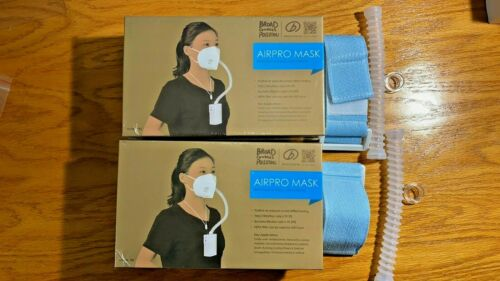 Two BROAD AirPro Mask Air Purifying Respirators +Two Free Arm Band Kit