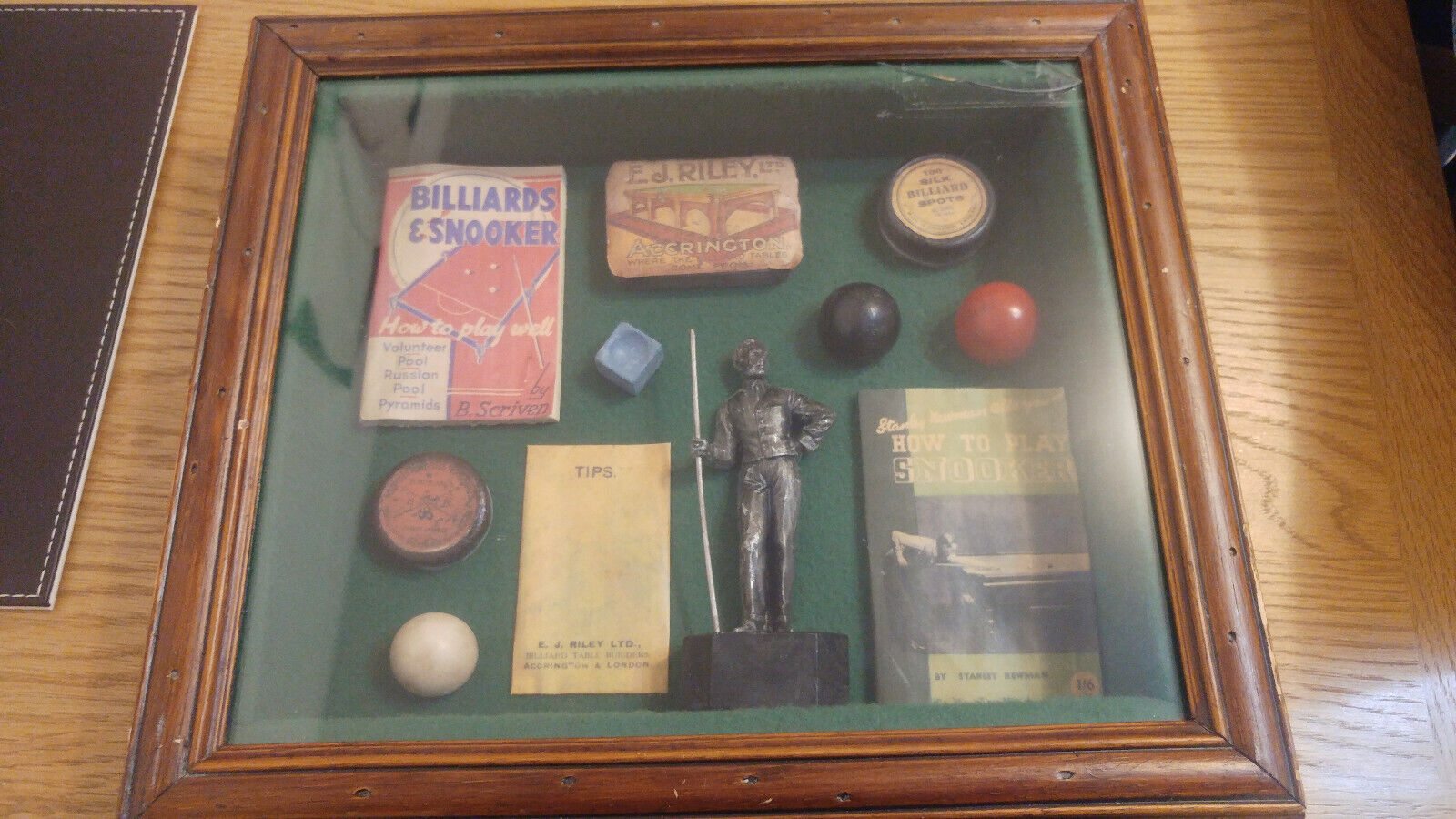 Display Case with Various Snooker Memorabilia Collectables 1930s