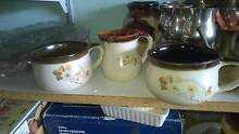 2 large cups mugs with milk jug brown with flowers Miranda Sutherland Area Preview