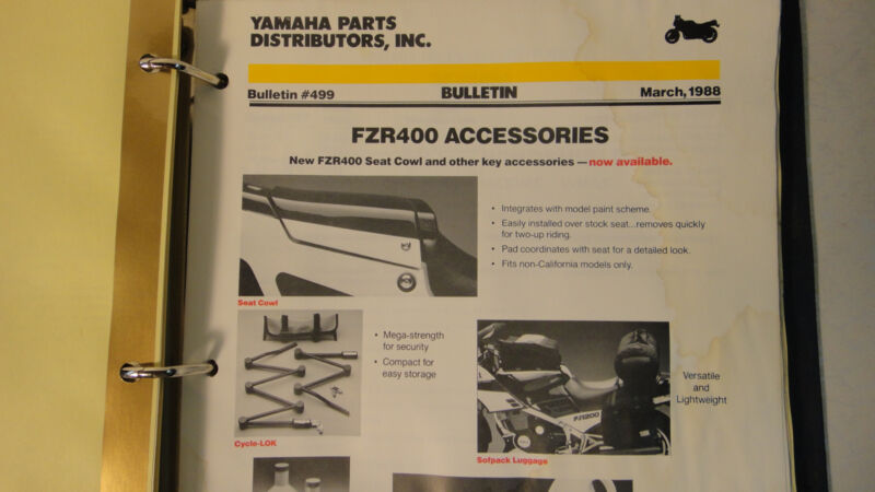 1987 Yamaha Service Data Motorcycle Manual    Free Shipping