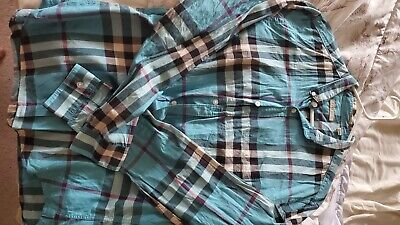 Mens Burberry Brit blue button down shirt burberry plaid size Large