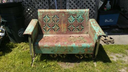 Photo Vintage Bunting Porch Glider - Rare Antique 2 Person Loveseat - Pie Crust Design