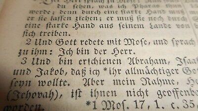Biblia-New York 1857-Die ganze Heilige Schrift-die Bibel-Theologie/2.Mose Jehova